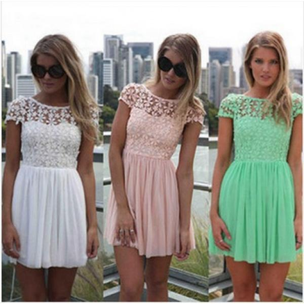 new sexy lace halter chiffon dress Charming Backless Dress Short Chiffon Mint Green Tops Dress
