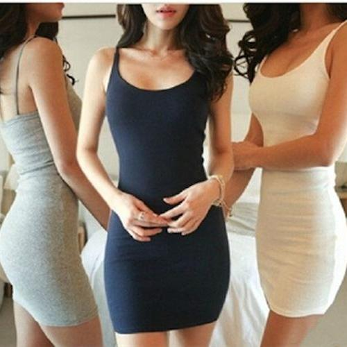 *Free Shipping* Summer Brand New Sexy A Line Strap Elastic Tight Pencil Mini Bodycon Bottoming Dress Women Clothing Bandage Plus Size Solid