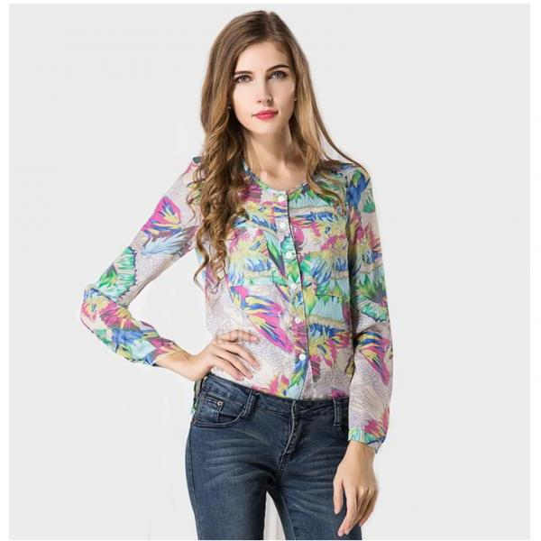 *Free Shipping* casual Women Blouses plus size Shirt Print floral Women tops Spring and Summer blusa feminina women clothing 951