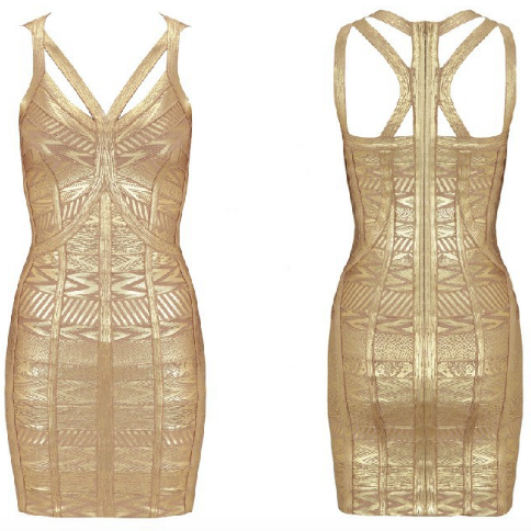 *Free Shipping* High Quality HL New Gold Print Sleeveless Keyhole Gold Bandage Dress Evening Sexy Full Dress