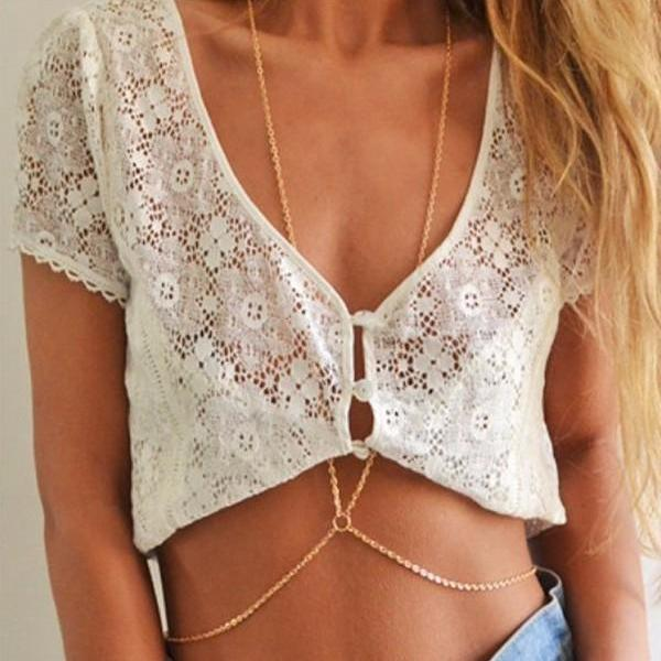 *Free Shipping* New Fashion Beach Circle Multilayer Summer Body Chain Simple Necklace Jewelry Alloy Gold Plated Body Necklaces For Women