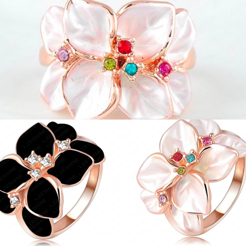 *Free Shipping* LZESHINE Christmas Big Sale Jewelry Ring 18K Rose Gold Plt Austrian Crystal White Enamel Flower Ring for Women anillos Ri-HQ1006