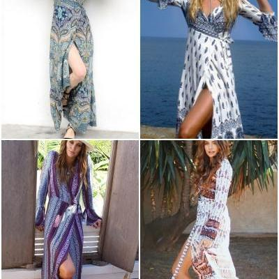 Boho floral print chiffon split long dress Women beach summer v neck kimono sexy dress Eleagnt sash wrap maxi dresses 32794902044