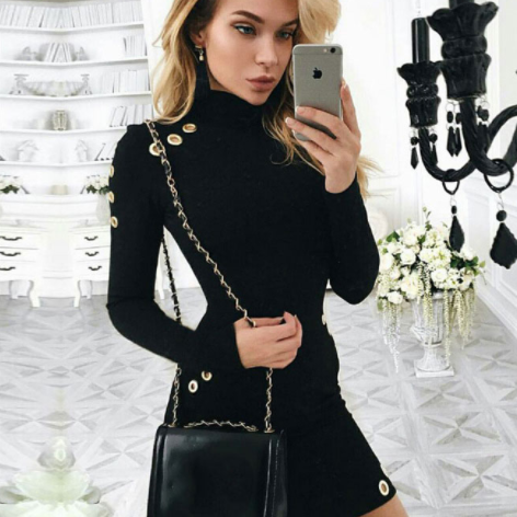 *FREE SHIPPING* Hollow out hole bodycon dress Elegant black long sleeve short dress Women slim party club sexy dress vestidos de fiesta 32788443198